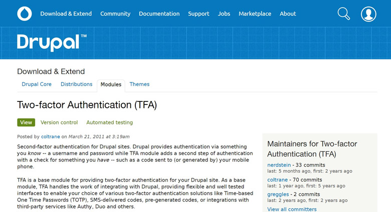 sicurezza del login di drupal two factor authentication