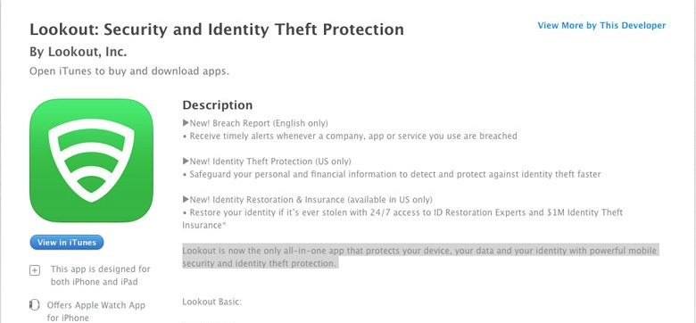 applicazioni di sicurezza per iPhone lookout
