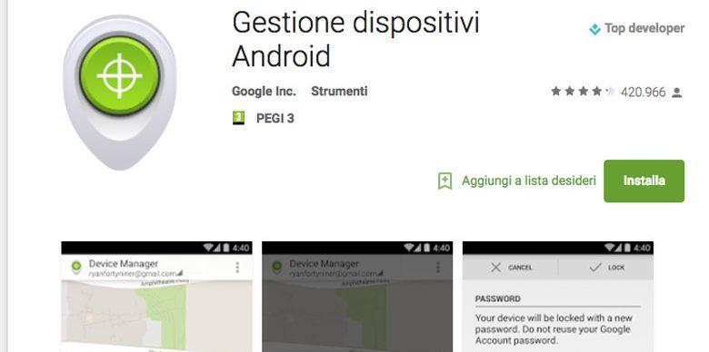 applicazioni di sicurezza per android e android device manager