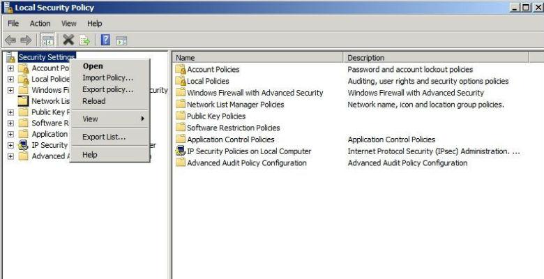 mettere in sicurezza un server windows esportando le linee di sicurezza base