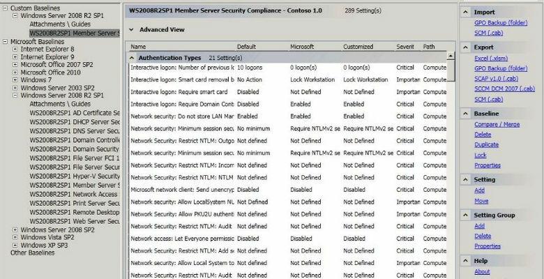 mettere in sicurezza un server windows usando security compliance manager
