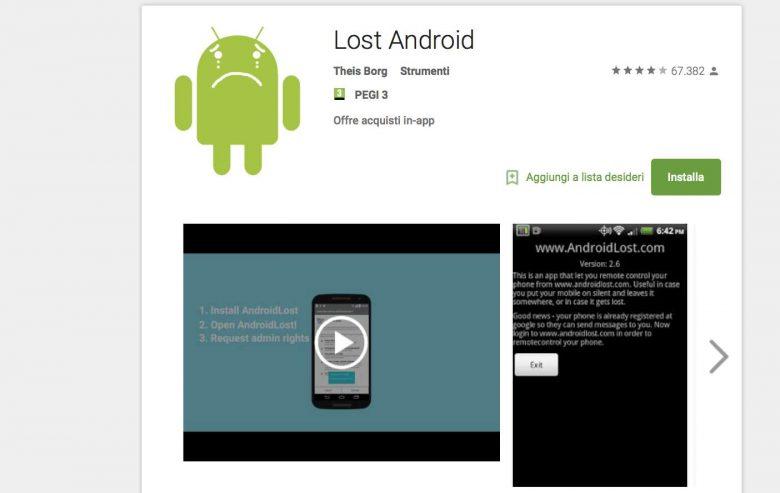 Lost android è un'app per ritrovare uno smartphone proposta da Theis Borg