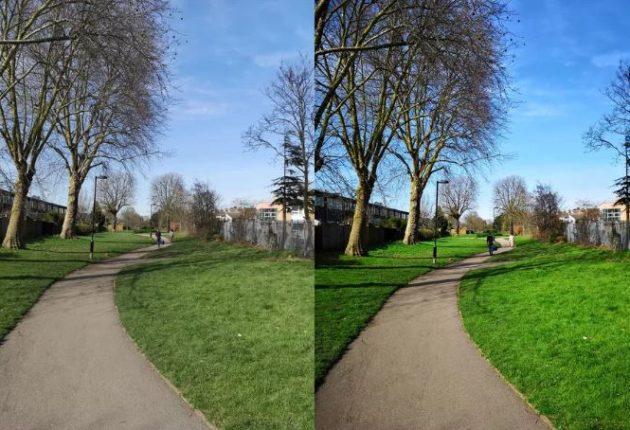 La prima parte della foto è stata scattata con l'autoregolazione attivata. Mentre la seconda con le regolazioni impostate dall'intelligenza artificiale.