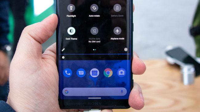 Sfondo nero menu android